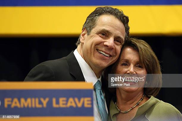 Democratic leader Nancy Pelosi joins New York Governor Andrew Cuomo to promote the governor's paid family leave initiative at a rally in Manhattan...