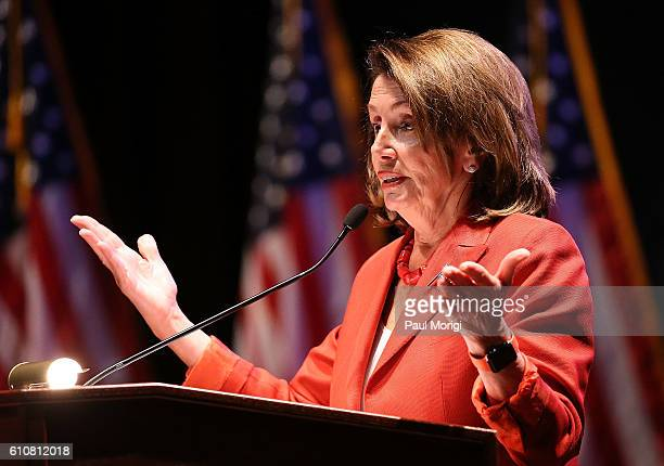Democratic Leader Nancy Pelosi speaks at the launch of the Elizabeth Dole Foundation's Hidden Heroes campaign at US Capitol Visitor Center on...