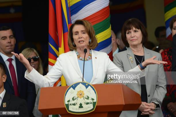 Democratic leader of the US House of Representatives Nancy Pelosi speaks to a gathering of Tibetans in exile during a visit to the Tsuglakang Temple...