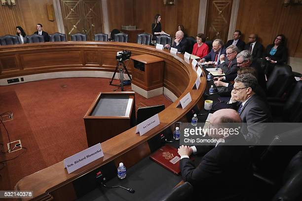 Democratic members of the Senate Judiciary Committee convene a meeting to discuss what they see as Supreme Court nominee Merrick Garland's...