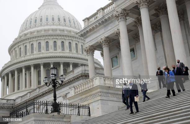 Democratic members of U.S. Senate Judiciary Committee, led by Senate Minority Leader Sen. Chuck Schumer , walk down the east front steps of the U.S....
