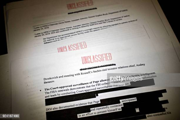 A Democratic memo written under the direction of ranking member of the House Intelligence Committee Adam Schiff is arranged for a photograph in...