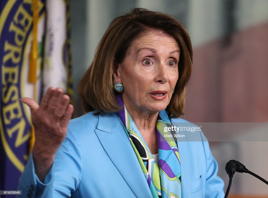 Democratic Minority Leader Nancy Pelosi (D-CA) speaks to the media during her weekly press conference on Capitol Hill, June 14, 2018 in Washington, DC.
