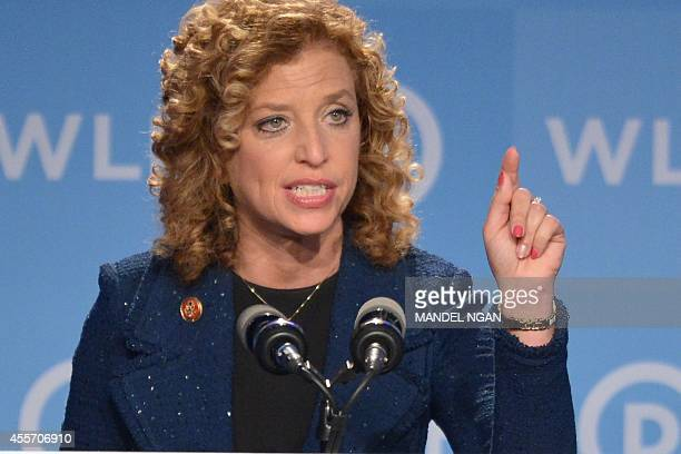 Democratic National Committee Chair Representative Debbie Wasserman Schultz Democrat of Florida speaks at the DNC's Leadership Forum Issues...