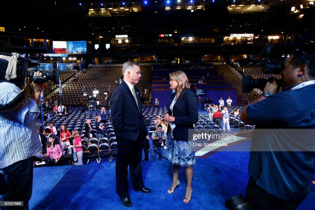 Democratic National Committee Chairman Howard Dean (L) is interviewed by CBS news anchor Katie Couric at the site of the Democratic National Convention (DNC) at the Pepsi Center August 24, 2008 in Denver, Colorado. The DNC begins August 25 where U.S. Sen. Barack Obama (D-IL) will be officially nominated as the Democratic nominee for U.S. president.