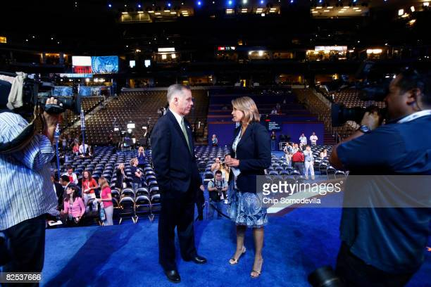 Democratic National Committee Chairman Howard Dean is interviewed by CBS news anchor Katie Couric at the site of the Democratic National Convention...