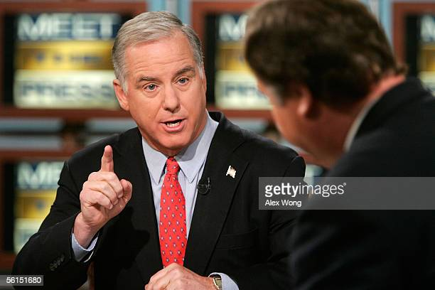 Democratic National Committee Chairman Howard Dean speaks as he is interviewed by moderator Tim Russert on NBC's Meet the Press during a taping at...