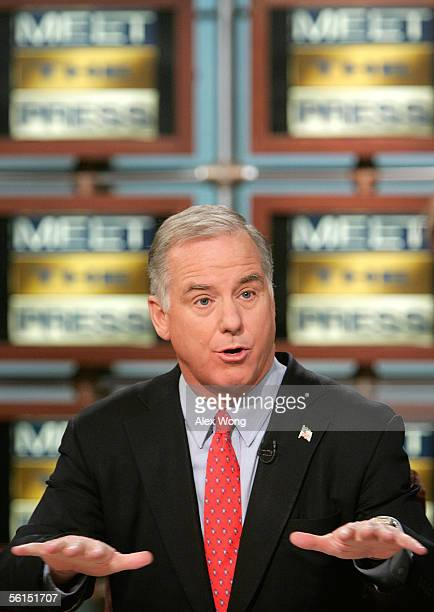 Democratic National Committee Chairman Howard Dean speaks on NBC's Meet the Press during a taping at the NBC studios November 13 2005 in Washington...