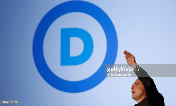 Democratic National Committee Chairman Tim Kaine reveals his party's new logo and Web site during an event in the Jack Morton Auditorium on the...