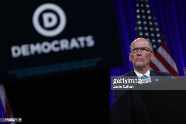 Democratic National Committee chairman Tom Perez looks on during the Democratic Presidential Committee summer meeting on August 23 2019 in San...