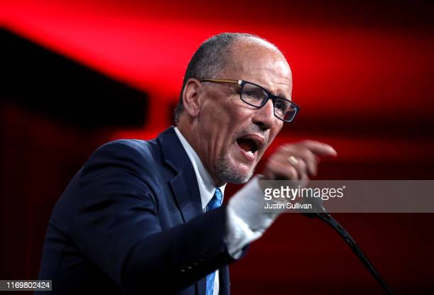 Democratic National Committee chairman Tom Perez speaks during the Democratic Presidential Committee summer meeting on August 23 2019 in San...