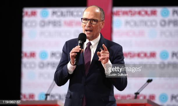 Democratic National Committee Chairman Tom Perez speaks to the audience ahead of the Democratic presidential primary debate at Loyola Marymount...