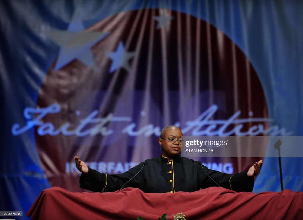 Democratic National Committee Convention CEO Leah D. Daughtry speaks during the Democratic National Convention Interfaith Gathering at the Wells Fargo Theater August 24, 2008 in Denver, Colorado. AFP PHOTO/Stan HONDA