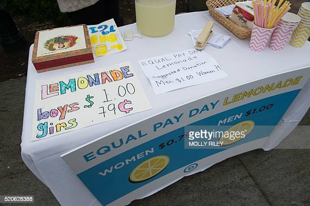 "Democratic National Committee women host an Equal Pay Day event with a lemonade stand ""where women pay 79 cents per cup and men pay $1 per cup, to..."