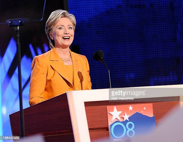 Day 2 Air Date Pictured Senator Hillary Clinton addresses the audience in support of Presidential candidate Barack Obama at the Pepsi Center in...