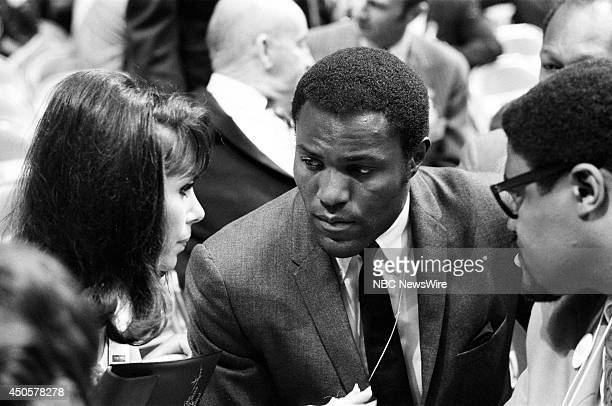 Democratic National Convention Pictured Actors Michele Lee Rafer Johnson and Rosey Grier during the 1968 Democratic National Convention held at the...