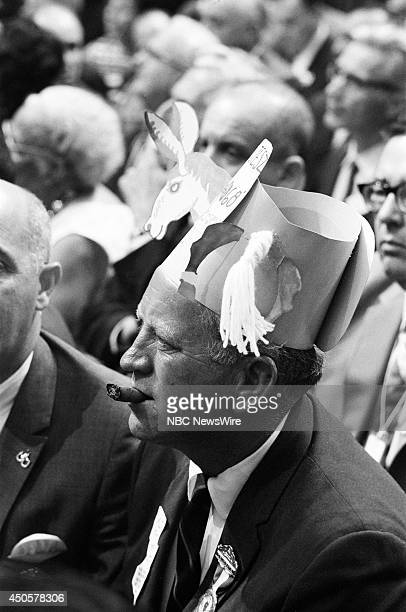 Democratic National Convention Pictured Atendee smokes a cigar in the audience during the 1968 Democratic National Convention held at the...