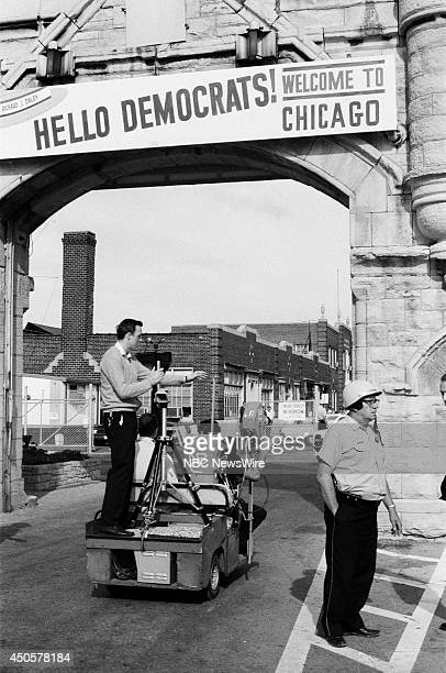 Democratic National Convention Pictured NBC News' cameramen film outside during the 1968 Democratic National Convention held at the International...