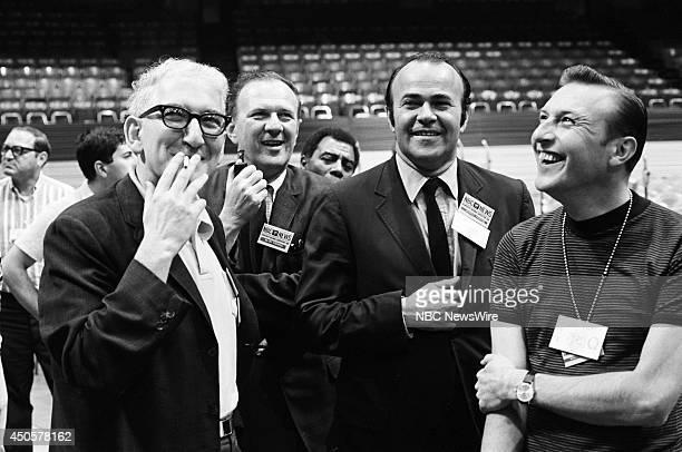 Democratic National Convention Pictured NBC News' Reuven Frank Eliot Frankel and Sander Vanocur during the 1968 Democratic National Convention held...