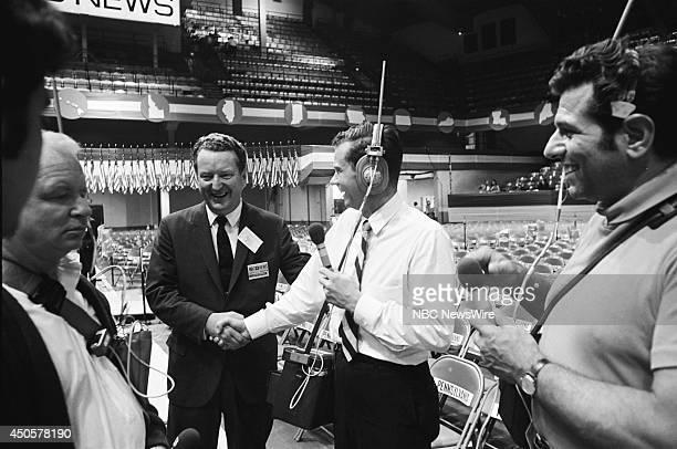 Democratic National Convention Pictured NBC president Julian Goodman and NBC News Bob Abernethy during the 1968 Democratic National Convention held...