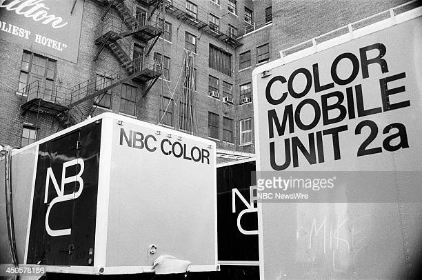 Democratic National Convention Pictured NBC trailers during the 1968 Democratic National Convention held at the International Amphitheatre in Chicago...