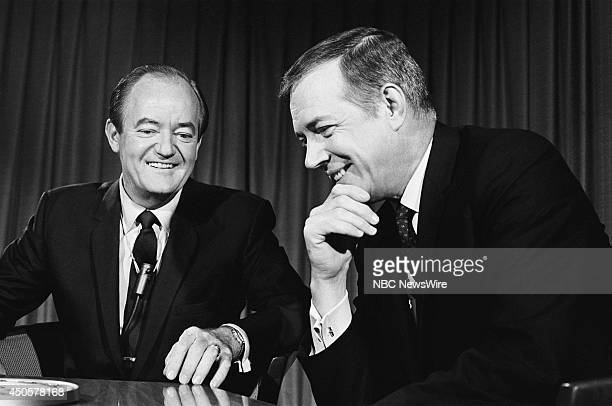 Democratic National Convention Pictured Presidential nominee Senator Hubert Humphrey and NBC News' Hugh Downs during the 1968 Democratic National...