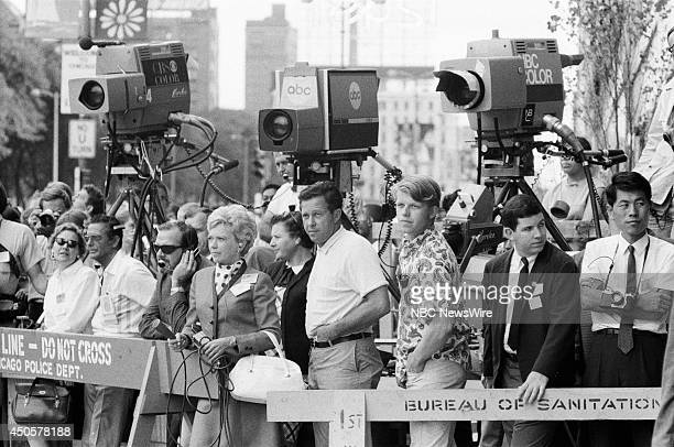 Democratic National Convention Pictured Press during the 1968 Democratic National Convention held at the International Amphitheatre in Chicago...