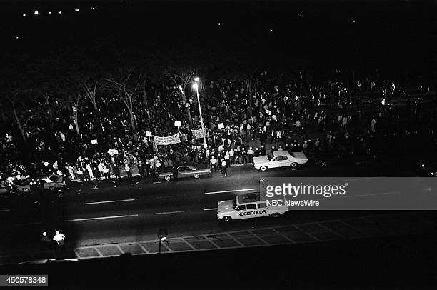 Democratic National Convention Pictured Protesters outside the 1968 Democratic National Convention held at the International Amphitheatre in Chicago...