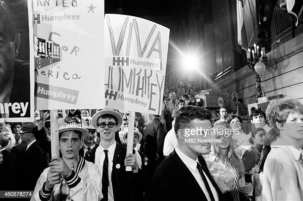 Democratic National Convention Pictured Supporters during the 1968 Democratic National Convention held at the International Amphitheatre in Chicago...