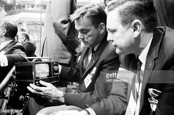 Democratic National Convention Pictured Supporters in the audience watch live coverage from a portable television during the 1968 Democratic National...