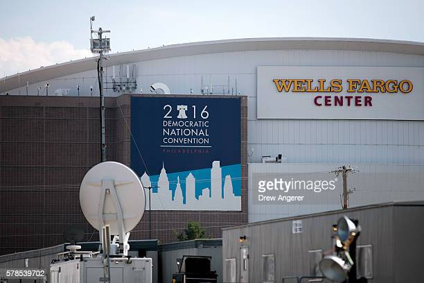 Democratic National Convention signage is displayed outside the Wells Fargo Center July 21 2016 in Philadelphia Pennsylvania The Democratic National...