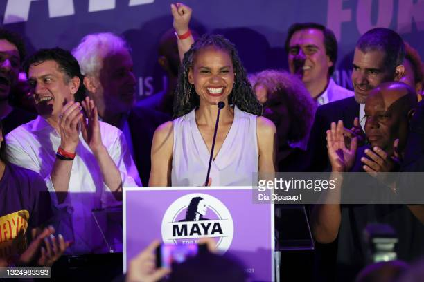 Democratic New York City mayoral candidate Maya Wiley addresses supporters at an evening gathering on June 22, 2021 in the Brooklyn borough of New...
