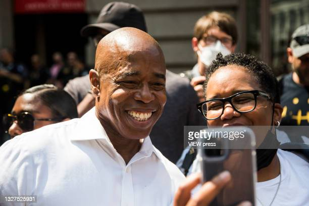 """Democratic New York City mayoral nominee Eric Adams attends the """"Hometown Heroes"""" Ticker Tape Parade on July 7, 2021 in New York City. Healthcare..."""