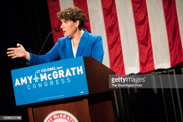 RICHMOND KENTUCKY USA NOVEMBER 6 2018 Democratic nominee Amy McGrath concedes the election for Kentuckys 6th congressional district to Republican...