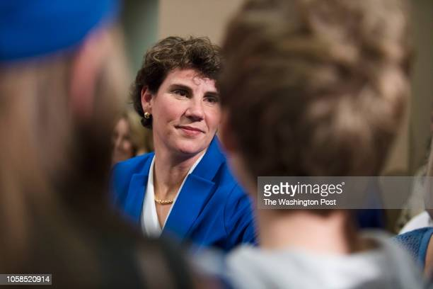 RICHMOND KENTUCKY USA NOVEMBER 6 2018 Democratic nominee Amy McGrath meets supporters after conceding the election for Kentuckys 6th congressional...