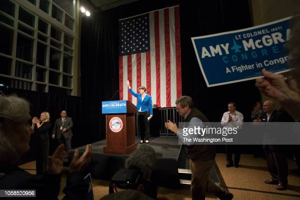 RICHMOND KENTUCKY USA NOVEMBER 6 2018 Democratic nominee Amy McGrath waives to supporters after conceding the election for Kentuckys 6th...