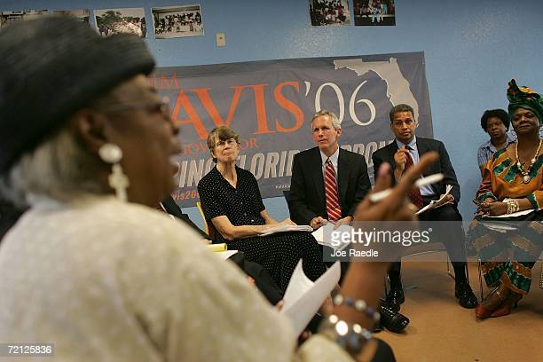 Democratic nominee for Florida Governor Jim Davis former US Attorney General Janet Reno and Democratic nominee for Lt Governor Daryl Jones listen to...