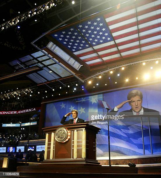 Democratic nominee for President John Kerry speaks to the crowd on the final night of the Democratic National Convention at the Fleet Center in...