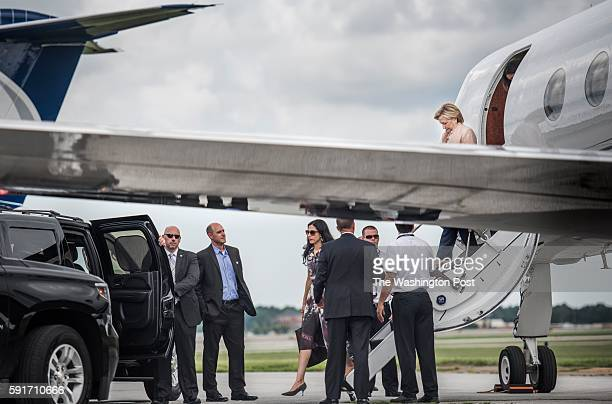 CLEVELAND OH Democratic Nominee for President of the United States former Secretary of State Hillary Clinton along with senior staffer Huma Abedin...
