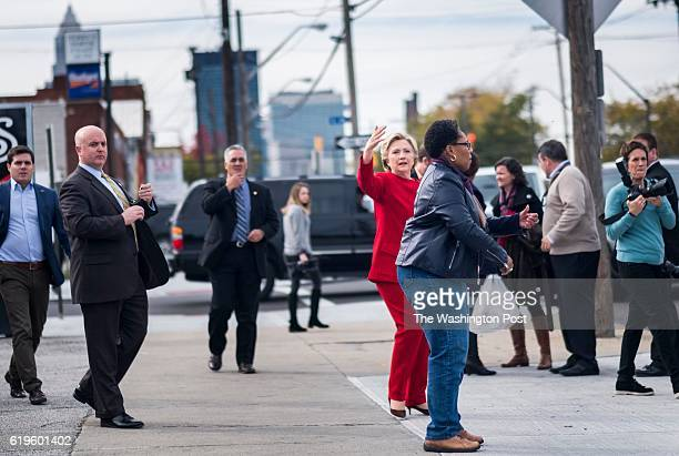 CLEVELAND OH Democratic Nominee for President of the United States former Secretary of State Hillary Clinton meets Ohio voters accompanied by...