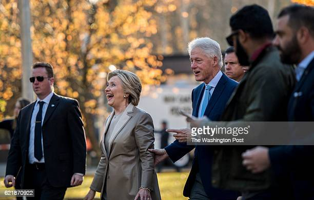 CHAPPAQUA NY Democratic Nominee for President of the United States former Secretary of State Hillary Clinton and her husband former President Bill...