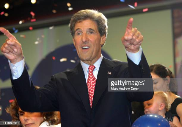 Democratic nominee for President Senator John Kerry on stage during the final night of the 2004 Democratic National Convention at the Fleet Center in...