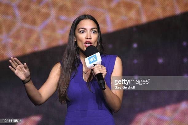 Democratic Nominee for the 14th Congressional District of New York Alexandria OcasioCortez speaks onstage during WE Day UN at Barclays Center on...