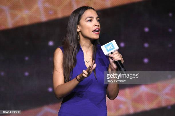 Democratic Nominee for the 14th Congressional District of New York Alexandria OcasioCortez arrives onstage during WE Day UN at Barclays Center on...