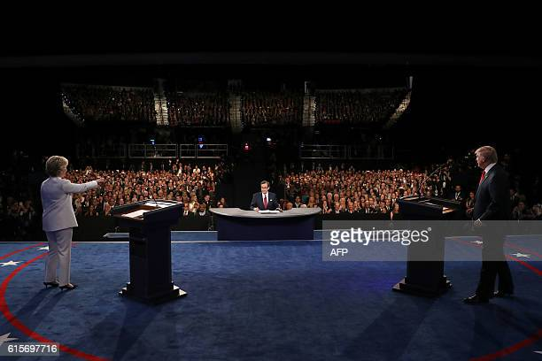 Democratic nominee Hillary Clinton and Republican nominee Donald Trump arrive for the final presidential debate at the Thomas Mack Center on the...
