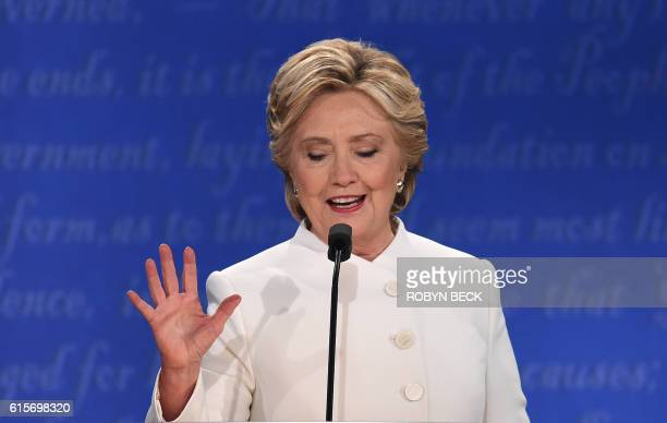 Democratic nominee Hillary Clinton speaks during the final presidential debate at the Thomas Mack Center on the campus of the University of Las Vegas...