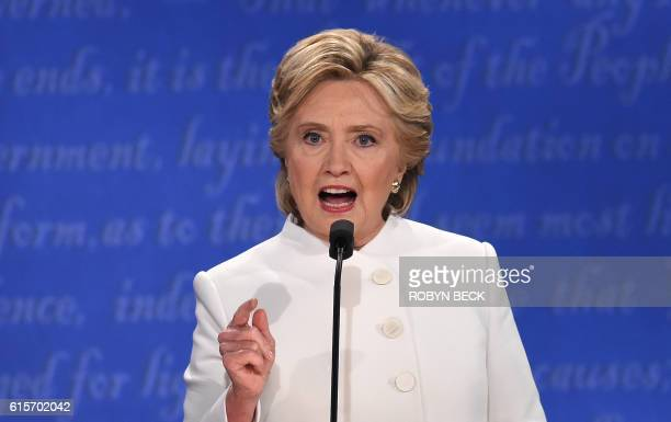 TOPSHOT Democratic nominee Hillary Clinton speaks during the final presidential debate at the Thomas Mack Center on the campus of the University of...