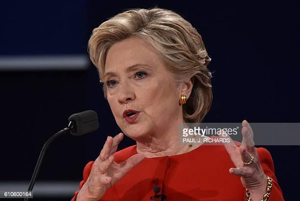 Democratic nominee Hillary Clinton speaks during the first presidential debate at Hofstra University in Hempstead New York on September 26 2016 / AFP...