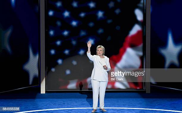 Democratic nominee President Hillary Clinton waves to the crowd following her acceptance speech at the Democratic National Convention in Philadelphia...