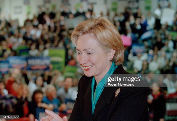 Democratic Party candidate for the US Senate Hillary R Clinton speaks at a campaign rally at Saint Rose College in Albany New York October 30 2000...